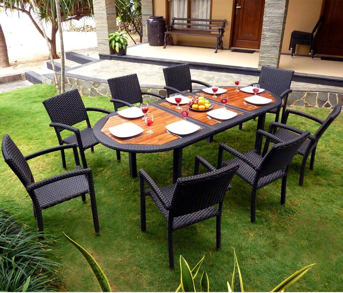 Conjunto de mesa y sillas de jardín 8 personas, resina trenzada, sillas de teca y: Amazon.es: Hogar