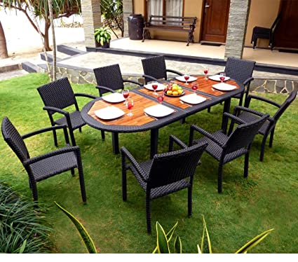 Conjunto de mesa y sillas de jardín 8 personas, resina trenzada ...