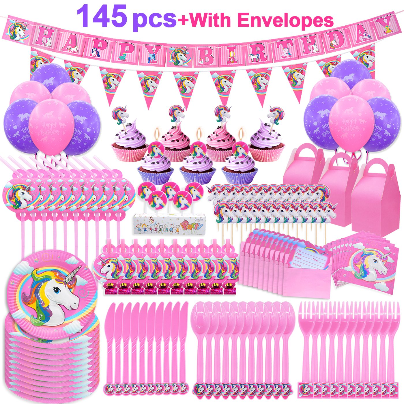 Paper Plates Cake Decorations Banners Invitations Cards Envelopes Knifes Forks Spoons Napkins Straws Music Blowouts Balloons Favor Boxes Candles