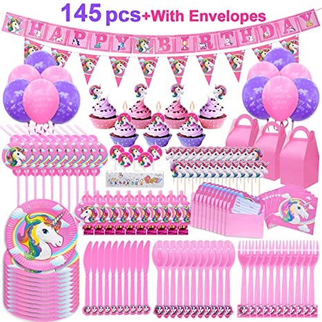 Pawliss 145ct Unicorn Birthday Party Decorations Supplies Kit Favor Boxes Candles Balloons Cupcake