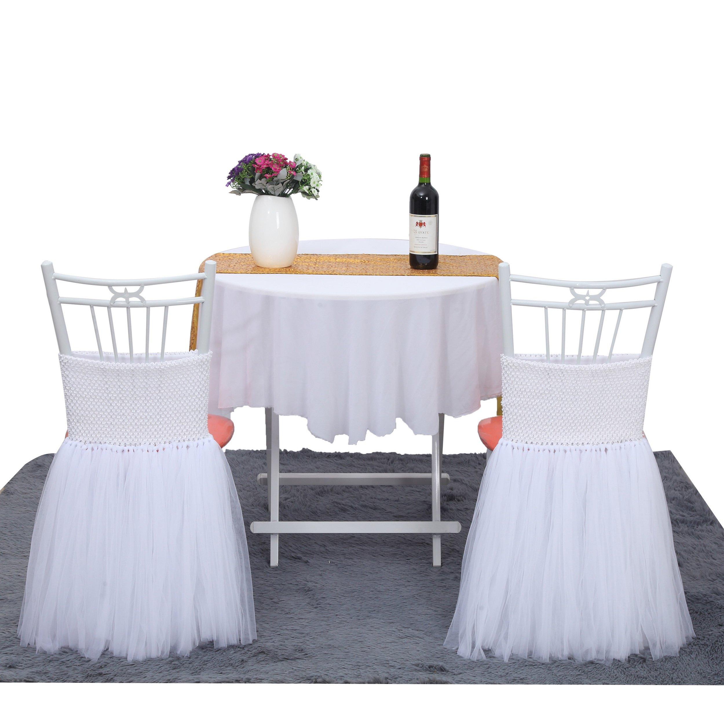 Suppromo Fluffy Tutu Chair Skirt Gold Brim Slipcovers White Handmade Chair Tutu Skirt For Baby Shower,Bridal Shower,Birthday Party&Home Decoration