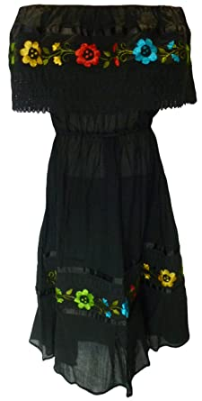 Mexican embroidered dress black bohemian hippie chic mini vintage boho  embroidered crochet lace