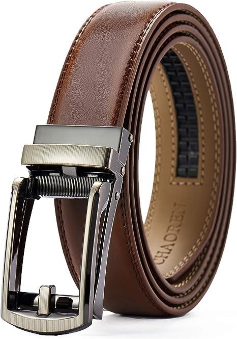 Men's Leather belt strap Automatic sliding buckle Auto lock Strap only