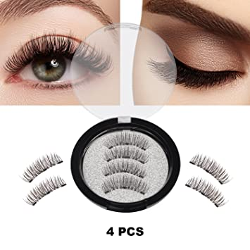 4d8c05664d2 Magnetic False Eyelashes, 4 Pieces 3D Reusable Fake Eyelashes for Women  Makeup, Perfect for