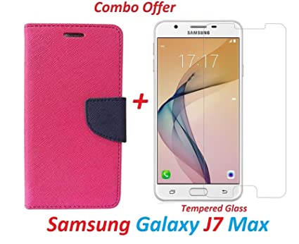 low priced 278e8 3b863 YuniKase Samsung Galaxy J7 Max (COMBO OFFER) Flip Cover Case Wallet Style (  Pink ) + Premium Tempered Glass screen Protector - Transparent