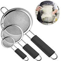 IPOW Fine Mesh Strainer, 3 Pack Professional Super Fine Mesh Strainer with Strengthened Non Slip Handles Covered by FDA Silicone for Sifting Flour, Noodle, Icing Sugar, Quinoa, Coffee, Juice, Tea etc