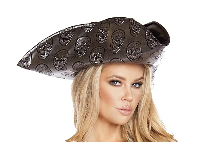 Women's Skull Embossed Silver Pirate Hat Costume Accessory by Roma Costume