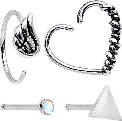 BodyCandy Acero Alas Corazón Pendiente Nariz Hueso Piercing Corazón Cierre Anillo Pack de 4 Calibre 20 3/8 1/4: Amazon.es: Joyería