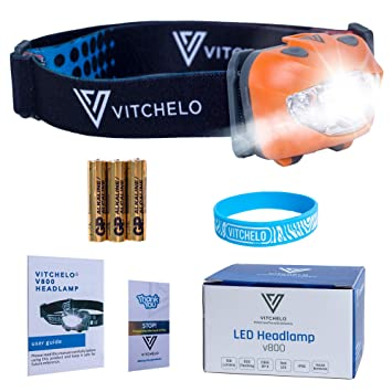 Image result for Vitchelo V800 Headlamp with White and Red Lights