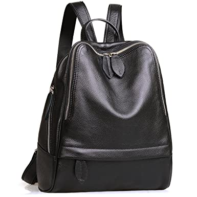 JackChris Chic Backpack Purse Leather For Women Zipper School Handbags WB204