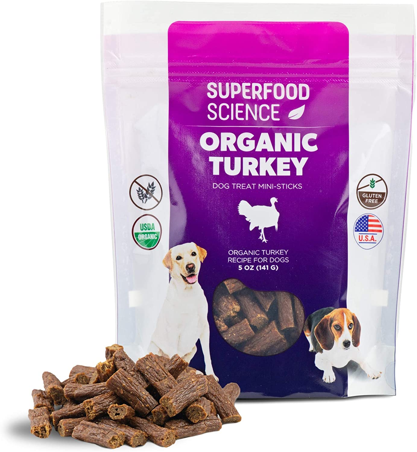 All Natural Organic Dog Treats, Turkey Dog Treats Made in USA Only, Grain Free Dog Treats with Immune Support, USDA Certified Organic, Non GMO, Gluten Free, 5 Oz Pouch