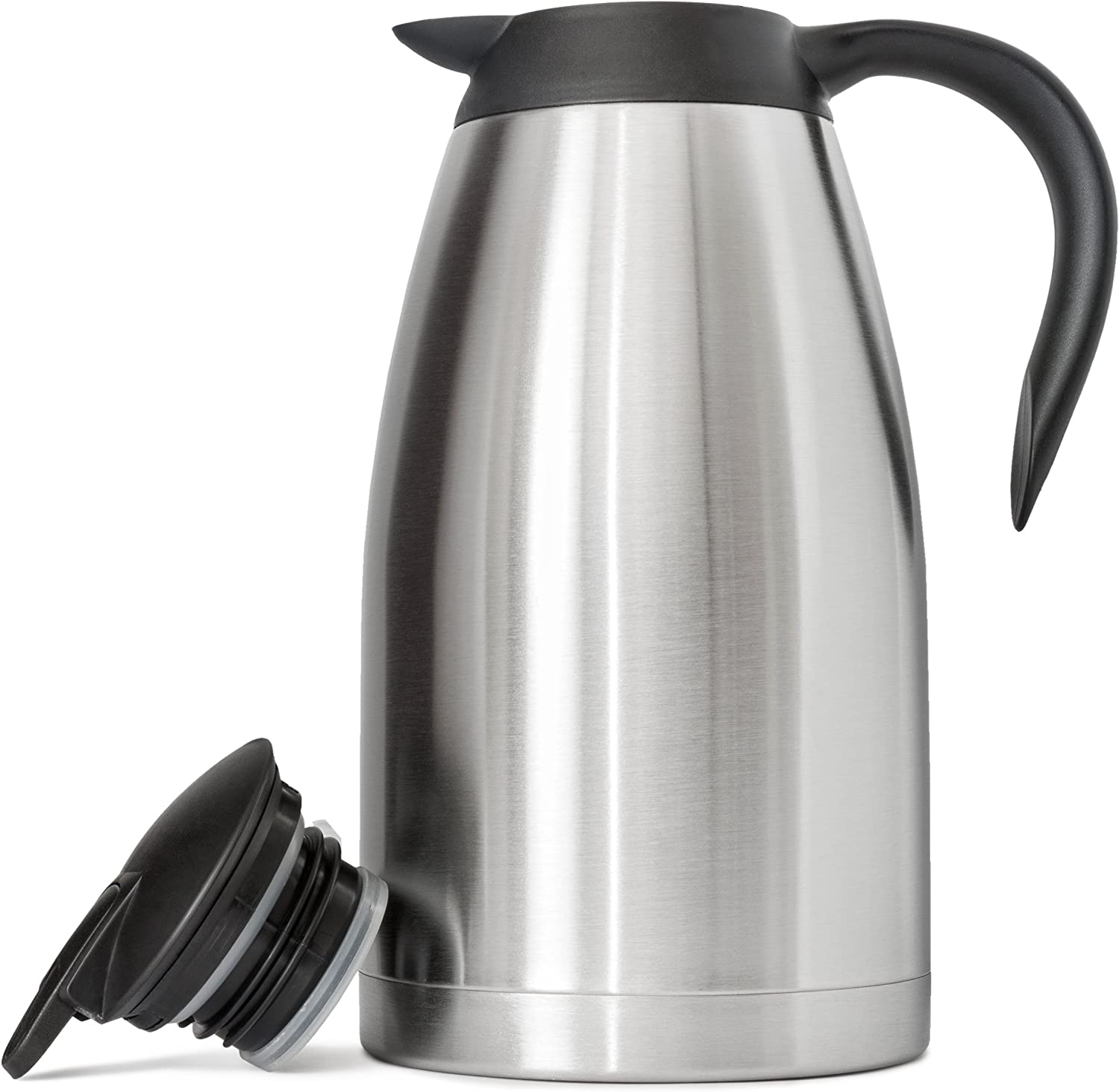 68 Oz (2 Liter) Thermal Coffee Carafe | German-Designed, Stainless Steel Insulated Double Wall | BPA-Free Vacuum Thermos | Effectively Keeps Beverages Hot (Warm up to 12 Hrs) or Cold (up to 24 Hrs)