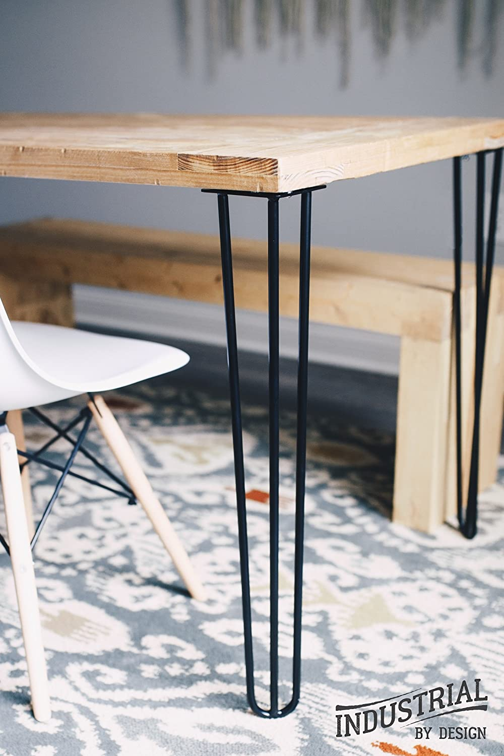 """Industrial By Design - 34"""" Hairpin Table Legs (Satin Black, Three-Rod) - Industrial Strength - Mid Century Modern - Set of 4,"""