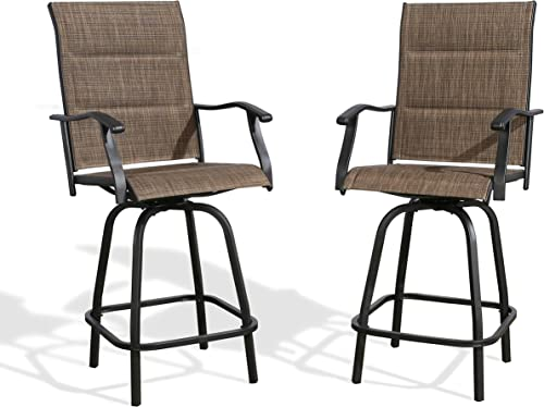Iwicker Patio Swivel Bar Stools Bar-Height Outdoor Chairs Padded Textilene, Set of 2
