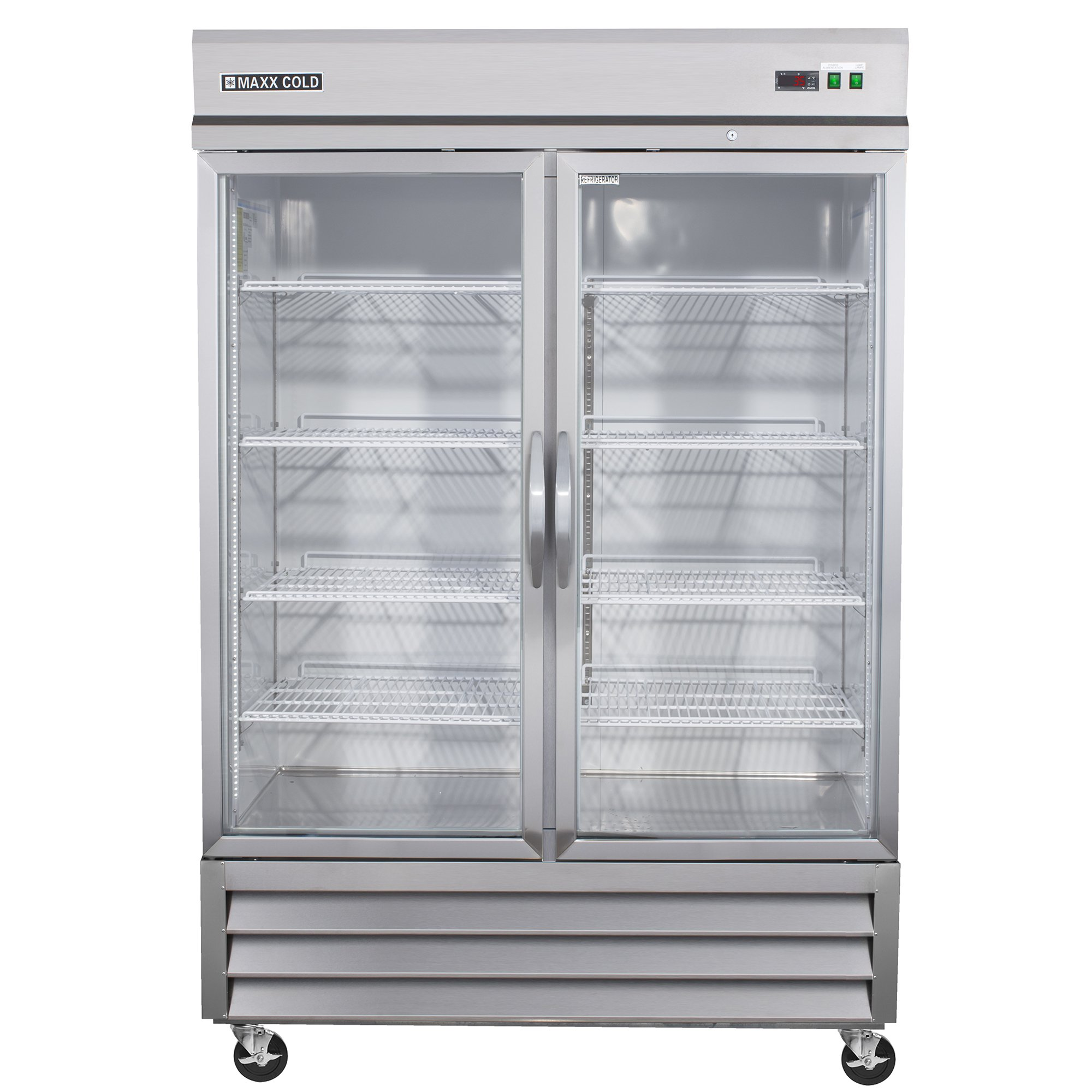 Maxx Cold MXCR-49GD Two Door GLASS Reach-In Upright Refrigerator - All Stainless Steel by MAXX Cold