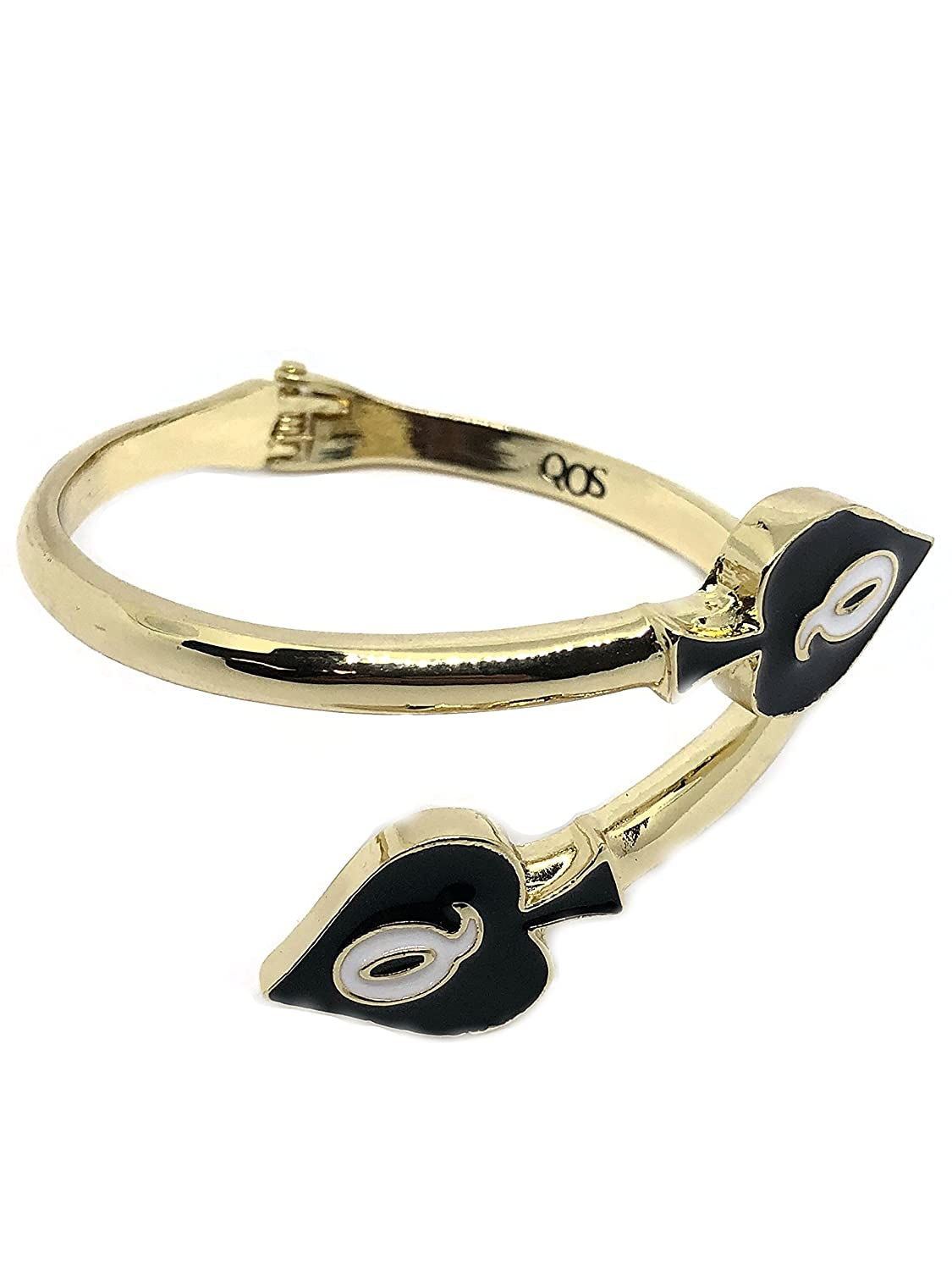 Alternative Intentions QOS (Queen of Spades) Charm Open Hinged Cuff Snake Bracelet QOSBRCT01