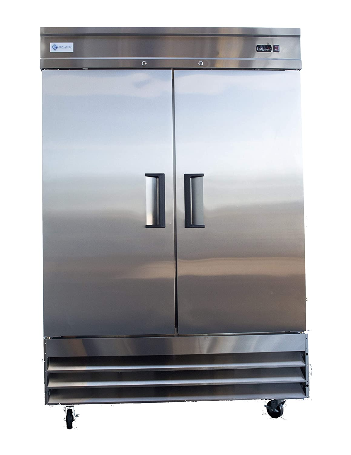 Alpha Chef Equipment Commercial Reach-In Refrigerator - 47 CuFt. Stainless-Steel Double Solid Door