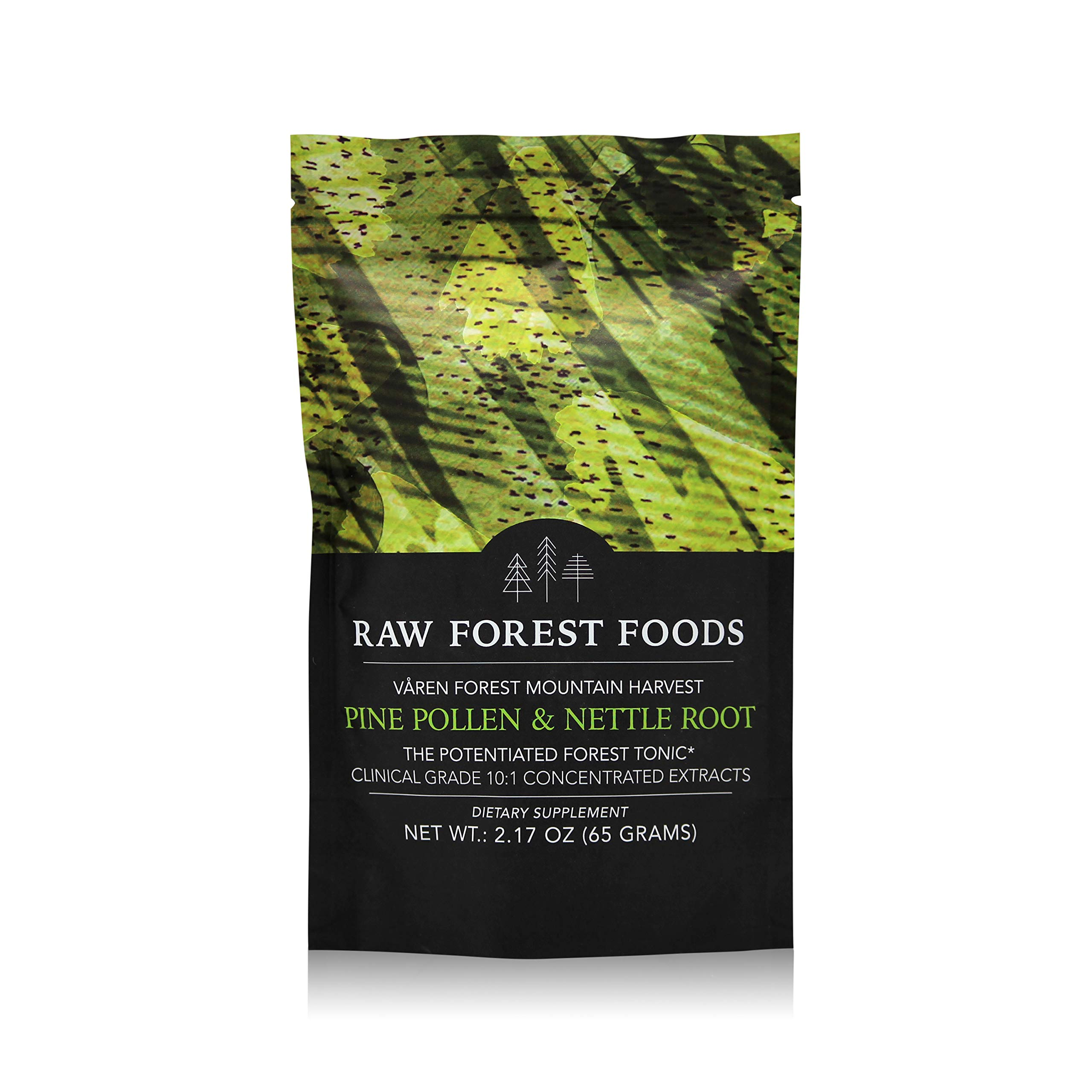 RAW Forest Foods Pine Pollen and Nettle Root Extract Powder | Clinical Grade 10:1 Potent Wild Harvested Pine Pollen and Stinging Nettle Root Extract | 65 Grams
