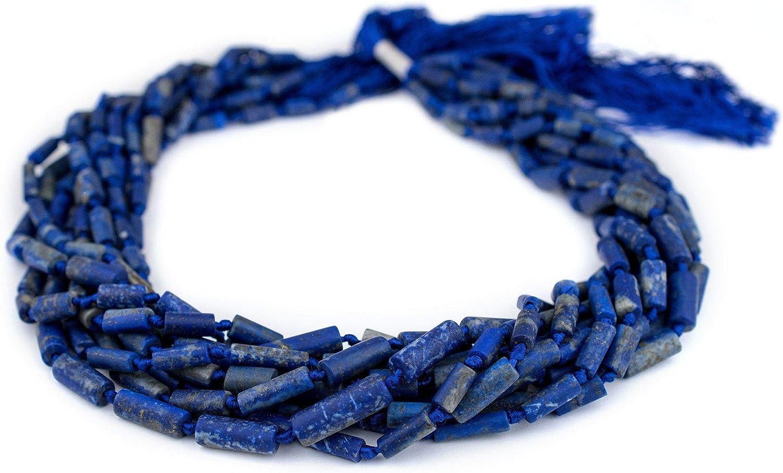Cylindrical Afghani Lapis Lazuli Beads 7mm Afghanistan Blue Cylinder Gemstone