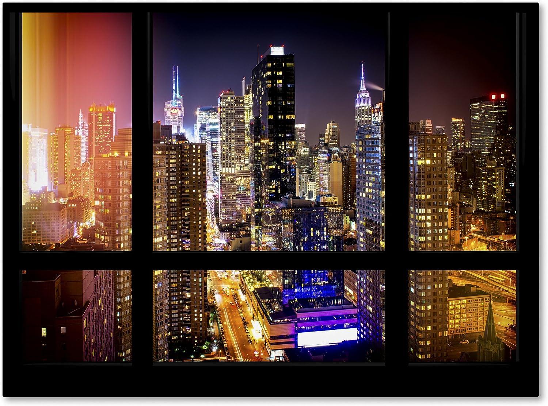 Window View Manhattan Night 2 By Philippe Hugonnard Wall Decor 35 X 47 Canvas Wall Art Posters Prints
