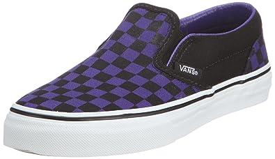 2a5cd43586fe Vans Unisex - Children Classic Slip-On (Checkerboard) Dark Purple Black  Trainers