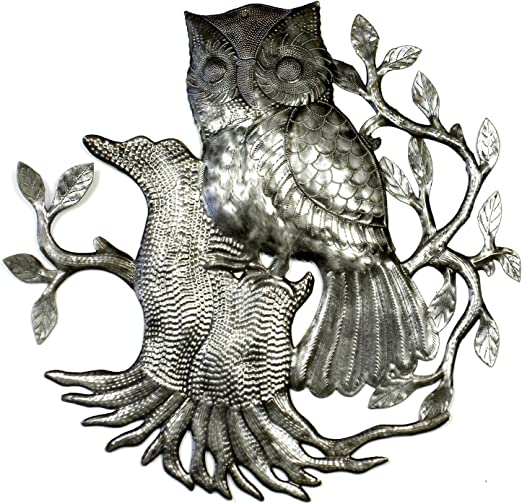 Global Crafts 24 Recylced Handmade Haitian Metal Wall Art Bird Motif Owl on Perch