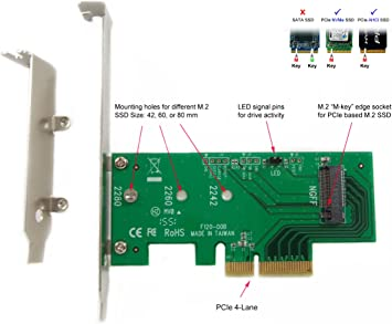 2x M.2 to PCIe Adapter NVME M2 SSD to PCI-e 3.0 x4 Gen3 Host Expansion Card