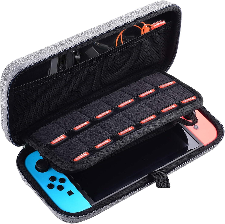 Diyife Funda para Nintendo Switch, Concha dura Estuche de Transporte Para Consola Nintendo Switch, Joy-Con 12 Cartuchos de Juego y Protector de Pantalla HD (Gris)