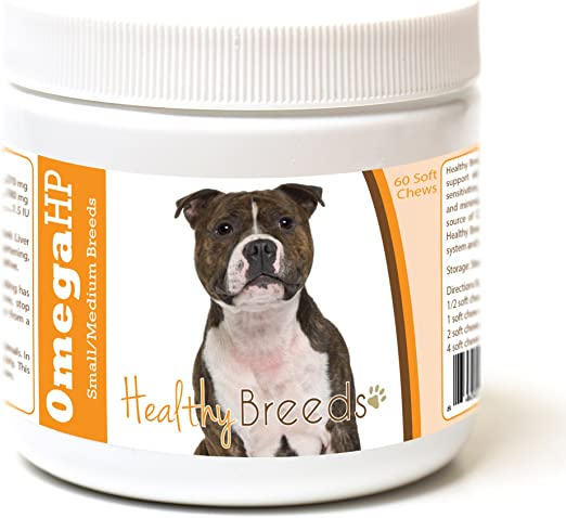 Healthy Breeds Staffordshire Bull Terrier Omega HP Fatty Acid Skin and Coat Support Soft Chews 60 Count