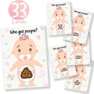 33 Baby Shower Raffle Card Game for Girls, Poopie Emoji Scratch Off Lottery Tickets by Party Hearty, 3 Winners, 5 Different L