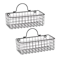 DII Z02023  Rustic Farmhouse Vintage Hanging Wall Mounted Wire Metal Basket, Set...