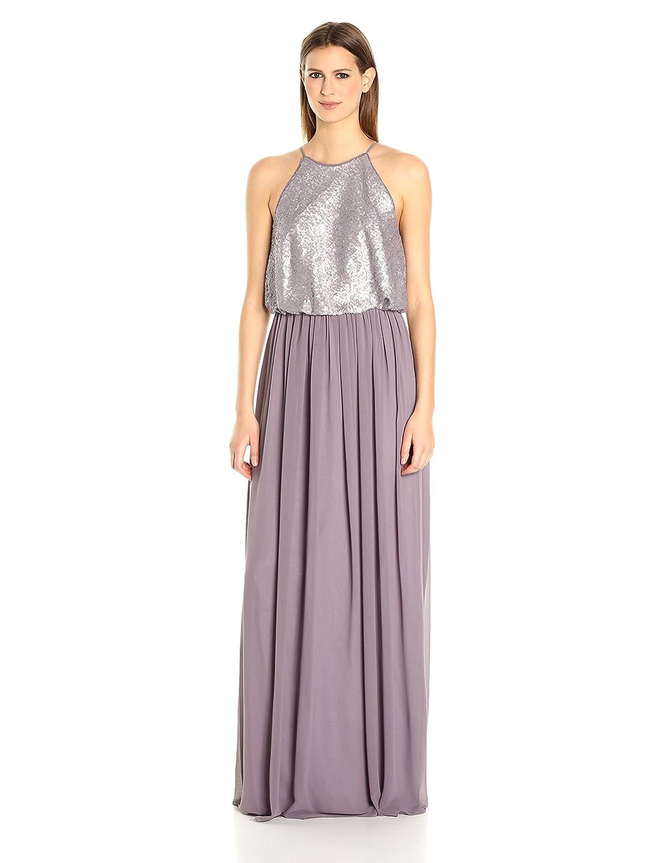 Donna Morgan Womens Hannah Sequin Blouson Gown