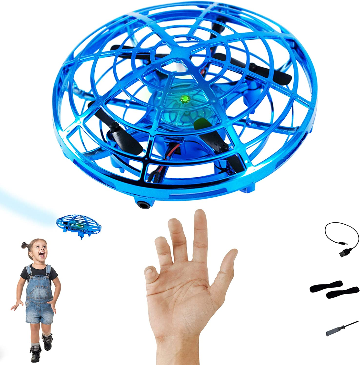 Hand Controlled Drones for Kids | Mini Drone | UFO Interactive Aircraft | Flying Ball | Alien Hovercraft | Indoor Pocket Hover Toy | Teens Adults Boys Girls Stem Toys | Hands Free Gadgets | Quadcopter
