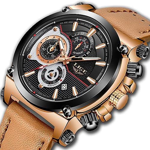 Watches for Men,LIGE Chronograph Waterproof Sports Analog Quartz Watch Gents Fashion Dress Wrist Watch