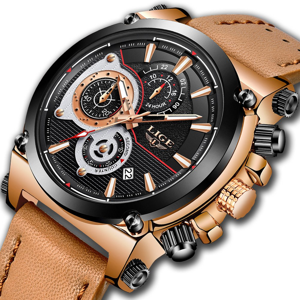 Watches for Men,LIGE Mens Chronograph Waterproof Sports Analog Quartz Watch Gents Brown Leather Strap Date Display Fashion Casual Big Face Wrist Watch Clock Rose Gold Black