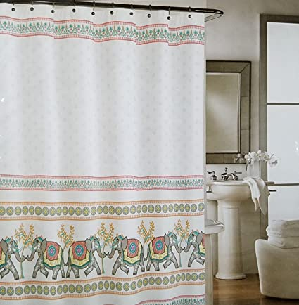 Cynthia Rowley Elephant Shower Curtain With Pink Orange Gray And Hints Of Aqua Blue