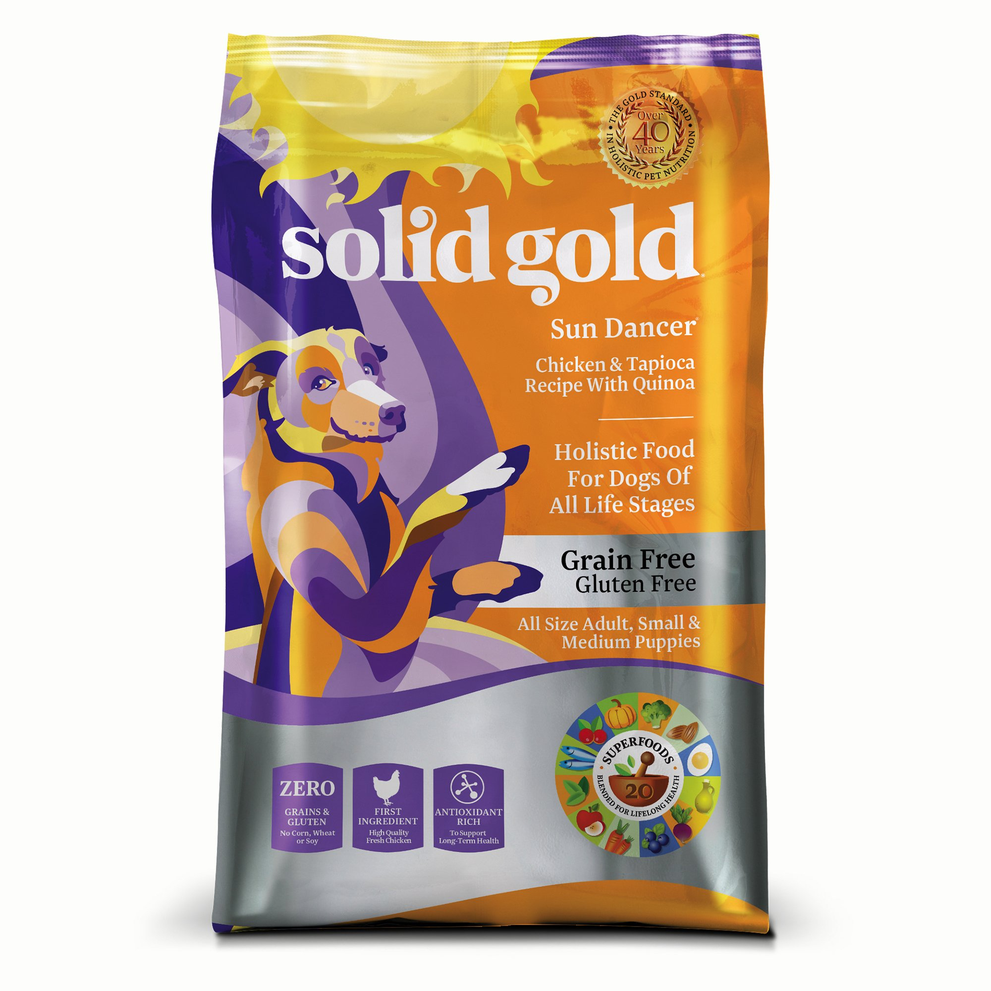 Solid Gold Sun Dancer Holistic Dry Dog Food, Chicken & Tapioca with Quinoa, Grain & Gluten Free, Moderately Active Dogs of All Life Stages, All Size Adult, Small & Medium Puppy, 24lb Bag