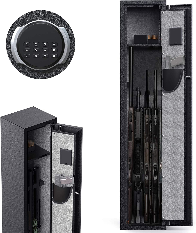 CISNO Gun Safes for Rifles and Shotguns, Digital Keypad Rifle Gun Safe, Quick Access Gun Storage Cabinet (Digital Keypad 4 Rifles)