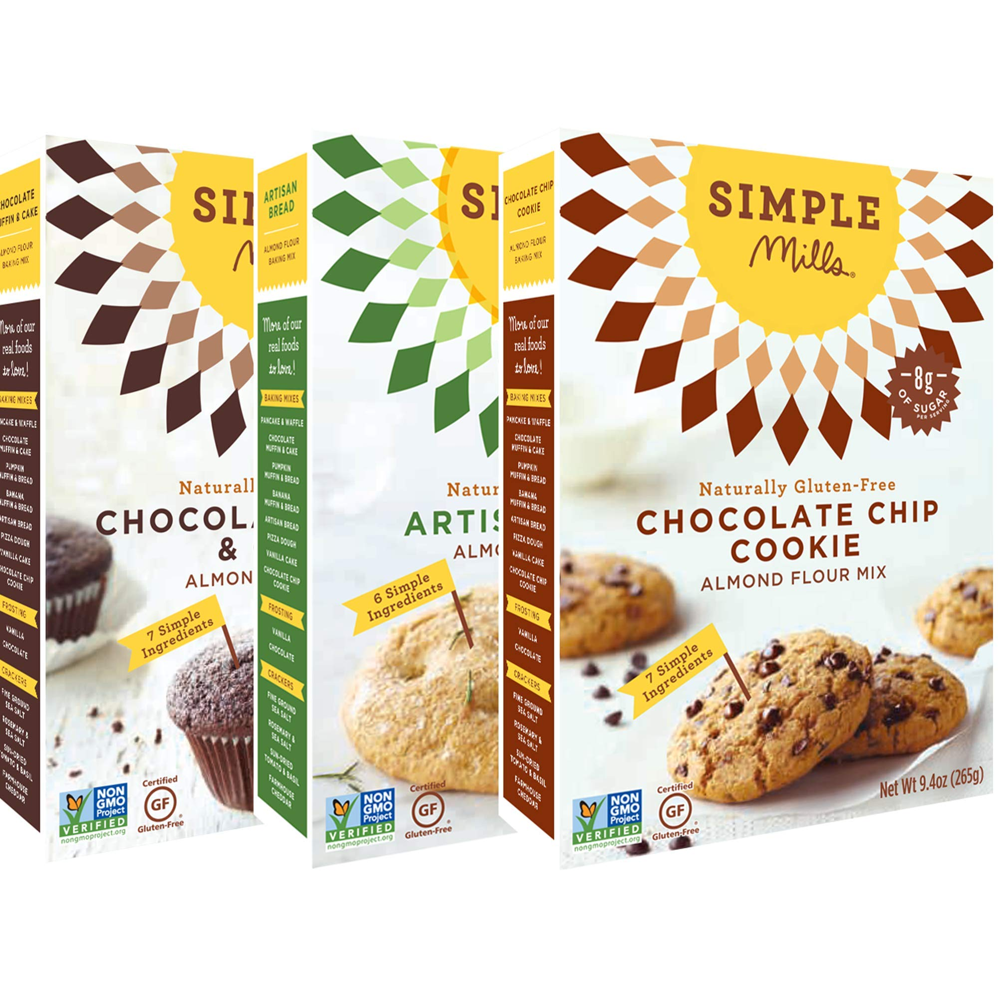 Simple Mills Almond Flour Mix Variety Pack:, (1) Artisan Bread, (1) Chocolate Chip Cookie, (1) Chocolate Muffin & Cake, 3 count by Simple Mills