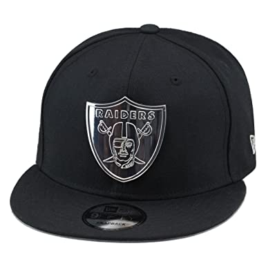 ecb7e0d57 New Era 9fifty Oakland Raiders Snapback Hat Cap Black Silver Metal Badge