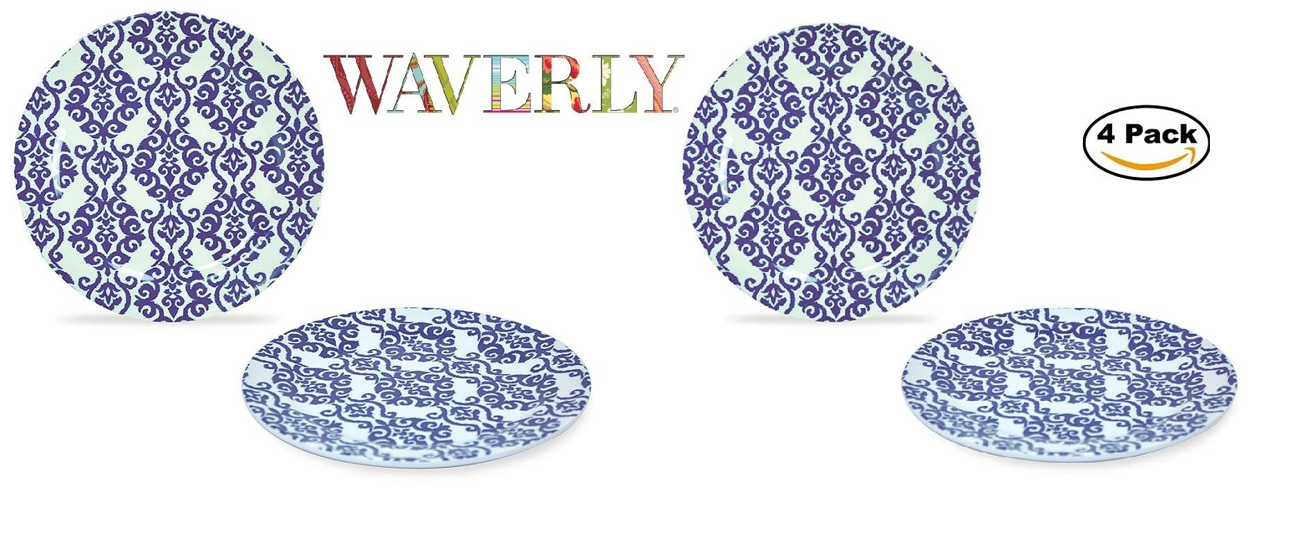WAVERLY 4-Piece 100% Melamine Salad Plate Set Shatter-Proof and Chip-Resistant Melamine Dinner Plates (Solar Flair Collection) 8''