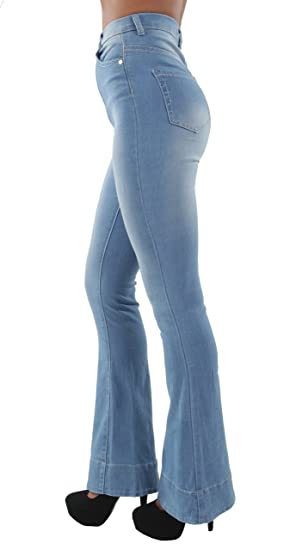 424e38f090479 Women s Juniors Bell Bottom High Waist Bootcut Fitted Premium Flared  Bootleg Jeans in Light Blue Size