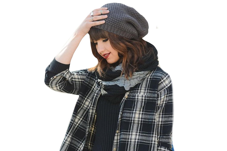 e7ec4c0e68a BohoNow Stylish Waffle Knit Slouch Beanie (Gray) at Amazon Women s Clothing  store