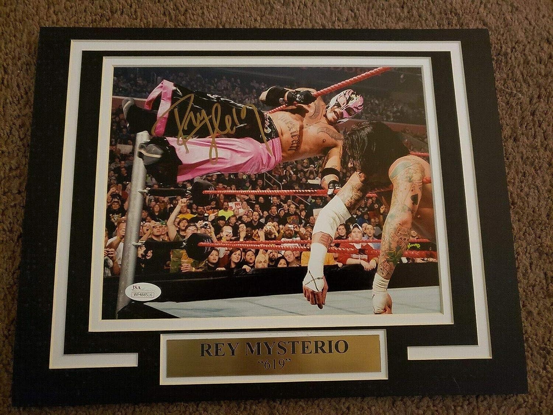 WWE REY MYSTERIO 11X14 Matted Namplate PHOTO AUTOGRAPH JSA vs Cm Punk