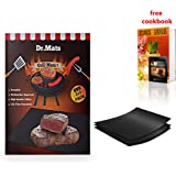 """Dr.Mats Ultimate Non-Stick Grill & BBQ Mat – 100% BPA-Free PTFE Material, 500°F Heat Resistant, Dishwasher Safe 15.74""""x 13"""" Baking Mat, Compatible With Electric, Charcoal & Gas Grills– FREE BBQ EBook"""