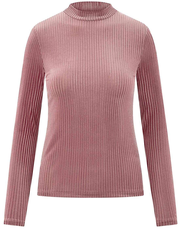 oodji Ultra Damen Gerippter Pullover aus Samtigem Stoff