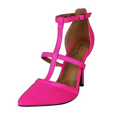8cb69bd6bc8 Qupid Women s Mixi-44 Hot Pink T-Strap Pointed Toe High Heel Pump 10