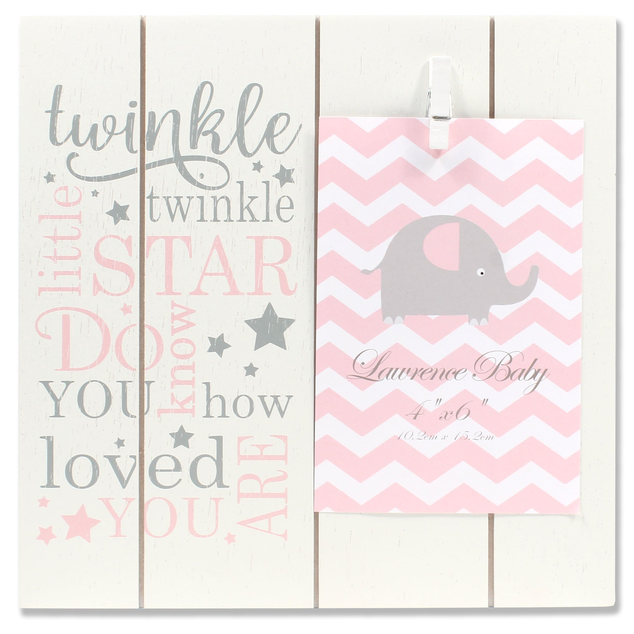 Lawrence Frames 4x6 Distressed White and Pink Wood Twinkle Picture
