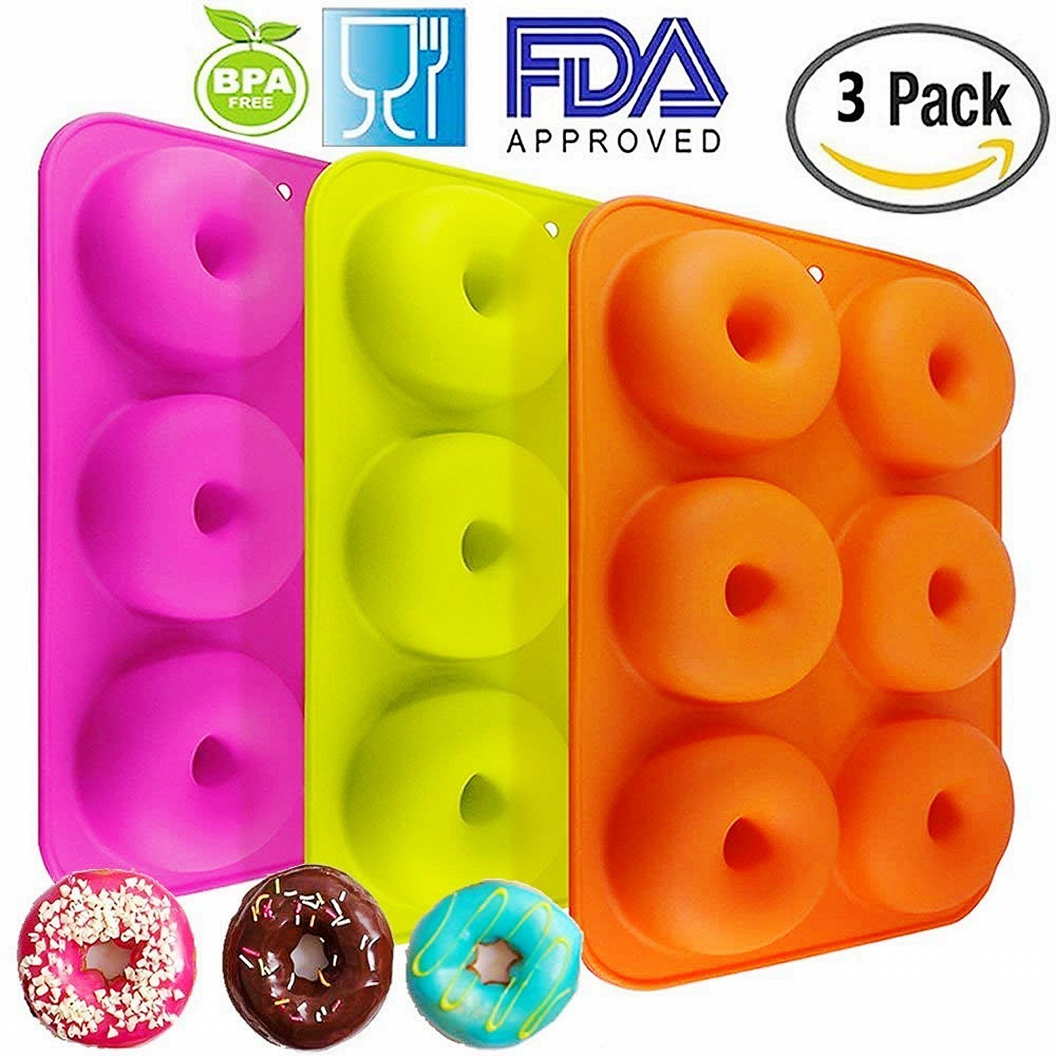 OKSANO 3 Pack Donut Molds, Silicon Cake Mold 6 Cavity Non-Stick Safe Baking Tray Maker Pan Heat Resistance for Cake Biscuit Bagels Muffins-Orange, Rose Red, Green by OKSANO (Image #1)
