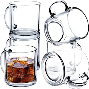 Glass Coffee Mug Set of 6 - 14 Oz Hot or Cold Beverages Mugs Wide Mouth Clear Espresso Cups with Handle Lead-Free Drinking Glassware Tea Glasses for Latte,Cappuccino,Hot Chocolate,Tea,Juice etc
